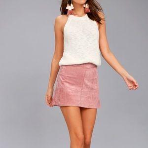 NEW! Lulu's Mauve Suede Mini Skirt